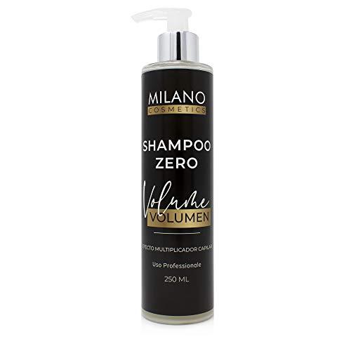 Milano Champú Zero Volumen 250 ml Sin sulfatos ni parabenos ni siliconas ni sales ni cera, profesional para pelo fino con efecto relleno natural, incrementando espesor. Hidratante, sensitive cero.