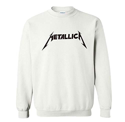 Dooljhjyr Metallica Pullover Bequeme Persönlichkeit Thin Section Sweatshirts Mode-Rundhalsausschnitt-Klassiker Pullover Unisex (Color : White01, Size : Height-175cm(Tag L))