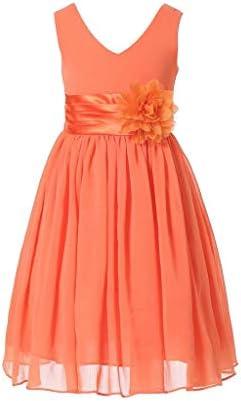 Bow Dream Flower Girl Dress Junior Bridesmaids V Neckline Chiffon Orange 6 product image