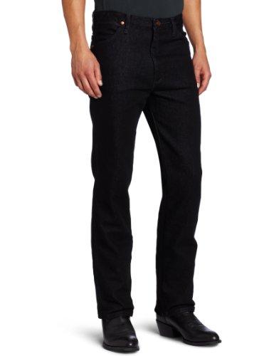 Wrangler Men's Western Slim Fit Boot Cut Jean, Black Stretch, 34x32