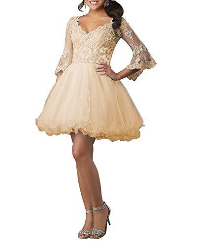HUINI Ballkleid Damen Kurz Abendkleid Cocktailkleid Elegant Spitzen Abiballkleid mit Ärmel A-Linie Abschlussballkleid Champagne 50