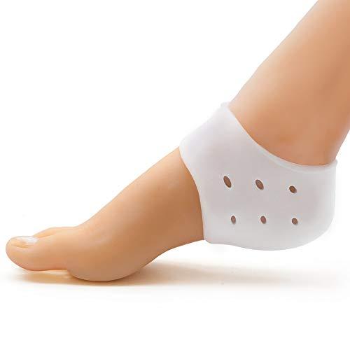 Welnove Gel fascitis para la planta del pie, protector de talón, tazas del talón, almohadilla, calcetines suaves para piel seca y agrietada, alivia el dolor de pies para la hidrataci&oac