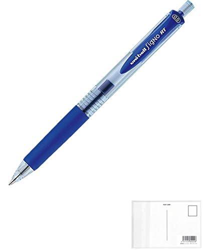 三菱鉛筆 ユニボールシグノ ノック式 エコライター インク色:青 ボール径0.5mm UMN105EW-33 + 画材屋ドットコム ポストカードA