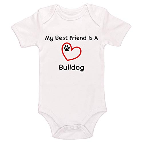 Kinacle My Best Friend is A Bulldog Baby Bodysuit (3-6 Months, White)