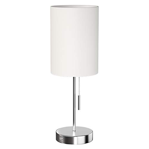 DEEPLITE Simple Design Table Lamp, Small Lamp with USB Port, White Lamp Shade and Silver Metal Base, Modern USB Lamps for Living Room, Bedrooms, Nightstand, Bedside Night Table, Side Table, Office, St