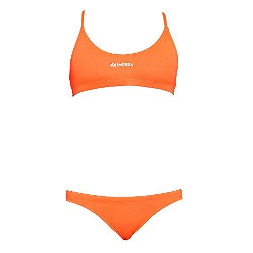 IMPERA Costume da Allenamento Nuoto, Bikini - Due Pezzi da Donna, Resistente al Cloro, possibilità di spaiare Taglia del Top con Taglia dello Slip - Colore Arancio Fluo (46)