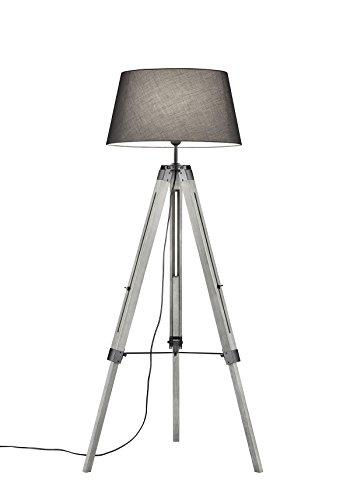 lightling modern Stehleuchte Tripod Lina mit Dreibein aus Holz, Stoffschirm grau, 1 x E27 max. 60W, ø 45 cm, Höhe 143 cm