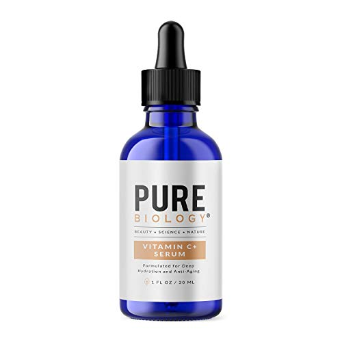 Pure Biology Premium Vitamin C Serum for Face with Hyaluronic Acid & Vitamin E, Brightening Antioxidant Serum for Face, Acne and Dark Spot Corrector, Skin Care for Men & Women (1 oz)