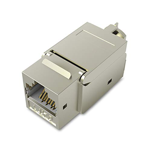 VENTION 5PCS Cat7 RJ45 Ethernet Modular Keystone Jack 50U Gold Plated Snap-in Connector Socket Shielding Adapter 10G Network (5 PCS/Pack)
