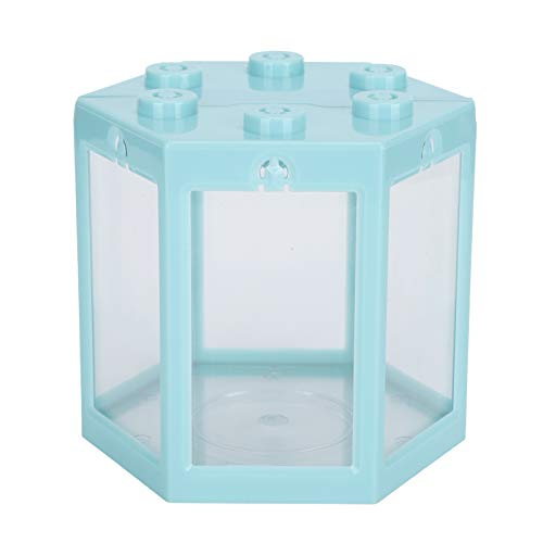 Evonecy Hex-Aquarium, Desktop-Aquarium Leichte, superresistente Hex-Form für Büro(Blue)