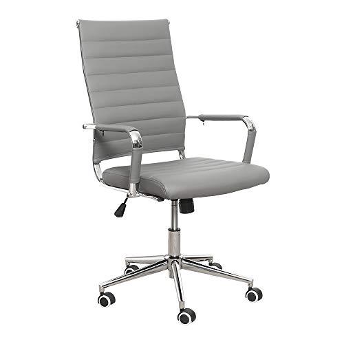 eclife Ergonomischer Bürostuhl, Chefsessel Schreibtischstuhl drehstuhl mit Armlehne, hoher Rückenlehne, Neigungsfunktion, Lordosenstütze, Chrome-Rädern (Grau)