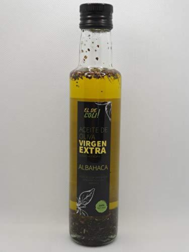 Aceite de oliva virgen extra condimentado con albahaca