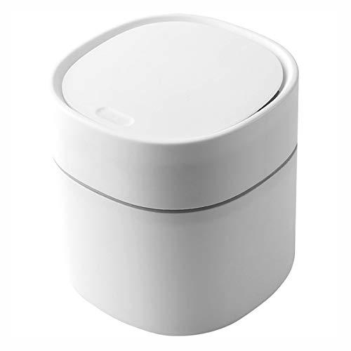 HAOXUAN Bote de Basura de Escritorio Tipo Prensa con Tapa elástica, Bote de Basura doméstico Compacto de 2L para Herramientas de Limpieza de Oficina en casa