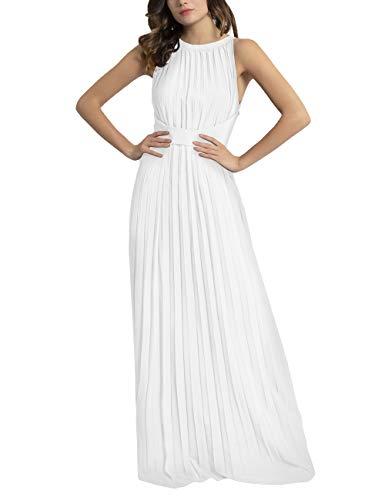 APART Elegantes Damen Kleid, Abendkleid, plissierter Chiffon, lockeres Taillenband, klassischer Schnitt, Creme, 42