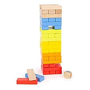 Kult-Geschicklichkeitsspiel in Trendfarben. Angesagte Regenbogenfarben machen dieses Wackelturm-Spiel zu etwas Besonderem! Konzentration und Fingerspitzengefühl sind gefragt, wenn die bunten Bausteine reihum aus dem Turm gezogen und oben wieder aufge...