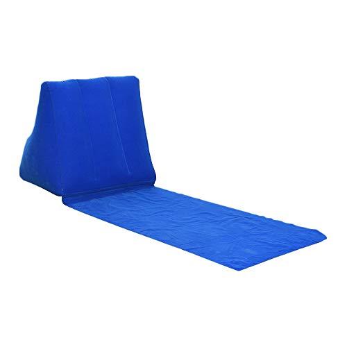 Strandliege Mit Lehne Aufblasbare Liege Strandmatte Faltbar Mit Rückenlehne Sonnenliege Strand Matte KEBY (Royal Blue)