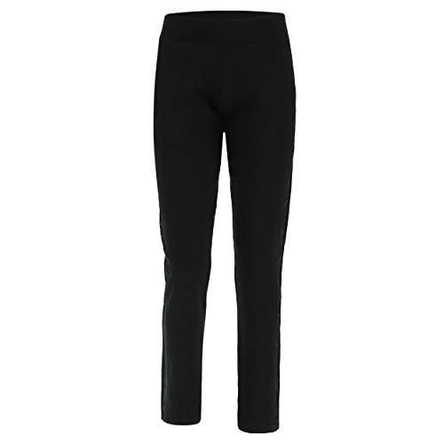 FREDDY Pantalon Classique en Molleton avec Bandes à Fleurs en Micro-Velours - Noir - Large