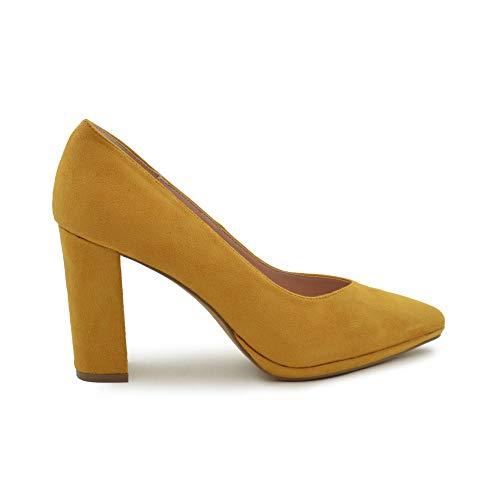 Salon-Schuh mit Absatz, Senfgelb, Gelb - Senf - Größe: 37 EU