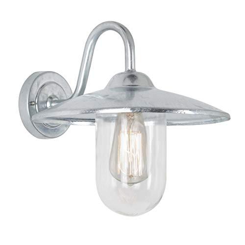 Hoflampe Brig - Wandleuchte aus Verzinkter Stahl im Landhausstil, ohne Bewegungsmelder & Leuchtmittel - Für Hof & Garten - Halogen & Led - 60W, Silber