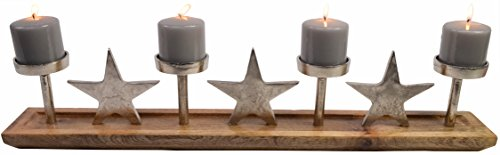 CHICCIE Advents Metall Kerzenhalter mit Sternen aus Metall und Holz - 75cm - Adventskranz Tischdekoration Weihnachten