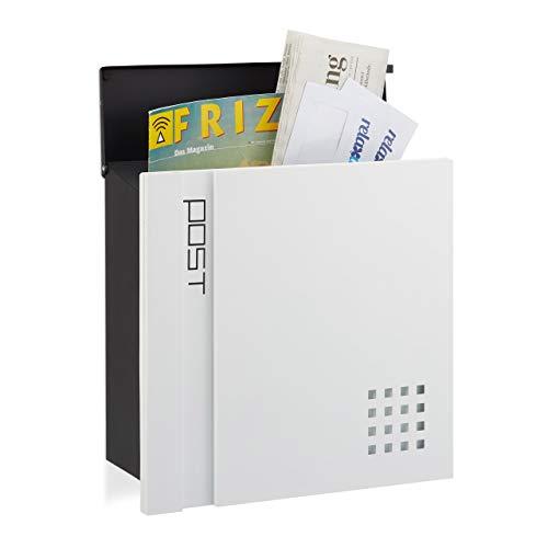 Relaxdays, schwarz-weiß Briefkasten abschließbar, DIN A4 Einwurf, modernes Design, Wandbriefkasten, HBT: 37 x 37 x 15 cm, Standard