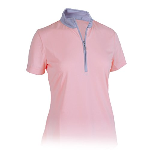 Monterey Club Women's Hi-Low Contrast 1/4 Zip Mock Top #2325 (Light Pink/Gray, Large)