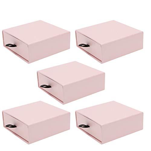 Angoily 5 Piezas Cajón Joyero Organizador de Joyas Pendientes Collar Caja de Regalo Contenedor Porta Baratijas para Mujeres Niñas 10X10CM Rosa