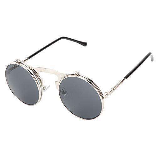 Idyandyans Mode Flip Up Steampunk Sonnenbrille UVschutz-Sonnenbrille-Männer runde Weinlese-Männer Sunglass Driving Piloten Brille Sunproof Uv400