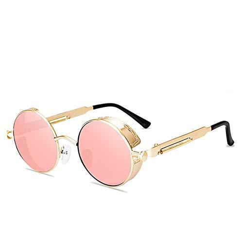 Hombres Retro Gafas De Sol Lente Rosa Marco Dorado Gafas De Sol para Mujer Gafas De Sol Redondas De Metal Steampunk Hombres Mujeres Gafas De Moda Diseñador De La Marca Gafas De Sol Retro Vi