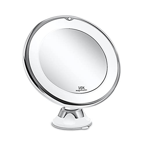 TreeLeaff 10 aumentos LED de aumento de luz de relleno de maquillaje espejo de escritorio fijo con rotación de 360 ° con luz natural regulable funciona con pilas, 20 cm de ancho