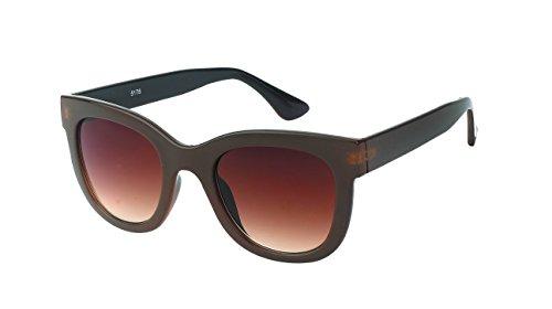 Chic-Net Hochwertige Sonnenbrille Cat Eye Stil Damen Rahmen breit Vintage getönt 400UV Glamour braun