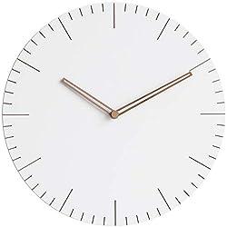 Stephanie Imports Modern Minimalist Wood on White (Numberless) Wall Clock