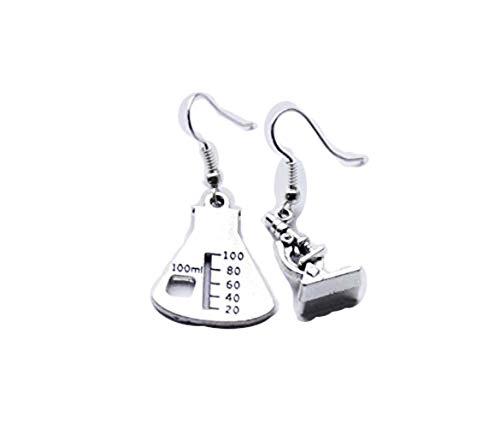 Beaker Earrings Science Earrings Microscope Jewelry Chemistry Earrings Scientist Earrings (Beaker Microscope earrings)