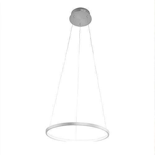 LED Pendelleuchte dimmbar Edelstahl Silber | Moderne Ring-Hängeleuchte warmweiß | Memory-Funktion | Pendellampe LED Leuchtring Wohnzimmer Esszimmer (40cm)