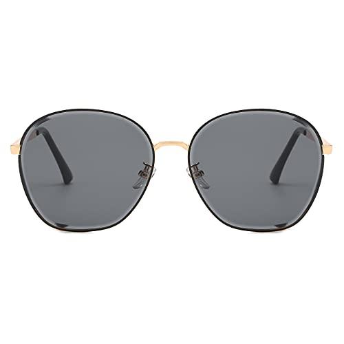XINMAN Gafas De Sol A Prueba De Viento con Montura Redonda Salvaje Personalizada, Tendencia De Moda, Gafas De Sol Anti-Ultravioleta, Montura Dorada, Escamas Grises