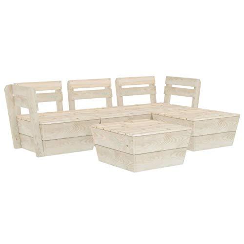 vidaXL Impregnated Spruce Wood Garden Pallet Lounge Set 5 Piece Wooden Outdoor Furniture Set Patio Seating Modular Sectional Lounge Sofa