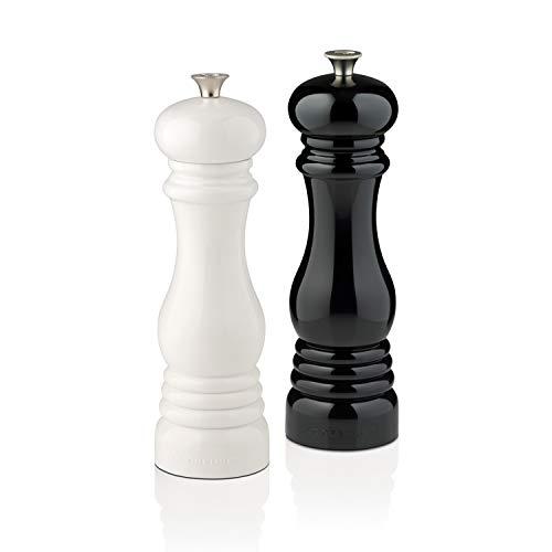 Le Creuset Mühlenset, Salz- und Pfeffermühle, ABS-Kunststoff, Je 6 x 6 x 20,8 cm, Keramik-Mahlwerk, Schwarz/Weiß
