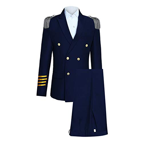 Herren Slim 5-teiliger Anzug Aircraft Commander Jacket Coat & Pant & Shoulder Board Kapitän-Kostüm für Herren mit Sakko Feifish Herren Seemann Faschingskostüm