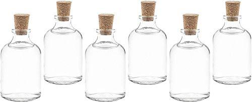 casavetro Tapón de Corcho Transparente Botellas de Vidrio vacías 50 ml - Tapas de Corcho Recargables Reutilizables - Apretado al Aire para endrinas Gin Aceite Vinagre Cerveza Vino Sidra(25 x 50 ml)