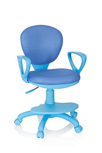 hjh OFFICE 670978 snurrstol barn kid färg tyg blå skrivbordsstol barn, fotstöd och säte justerbar höjd