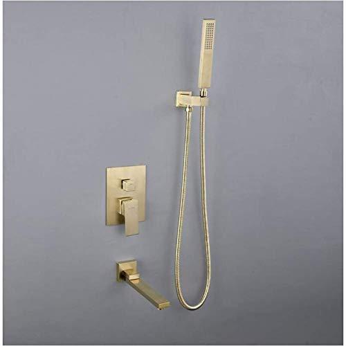 Zixin Messing Wand befestigte Badezimmer-Dusche-Hahn-Satz-Duschkopf Kopf + Mischbatterien Handbrause Bürste Gold Schwarz Badarmaturen