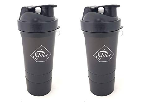 2 PACK PROTEIN BOTTLE SHAKERS WITH TIGHT LIDS FOR SPORTS AND FITNESS (2 PACK, BLACK)