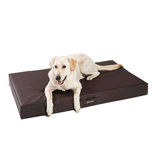 JAMAXX Premium Kunstleder - Orthopädische Matratze mit Memory Schaumstoff, Abwaschbare Matte/Abnehmbarer Bezug Wasserabweisend/Hunde-Bett mit funktionalem Visco Schaumstoff PDB1017-120x73 (L) braun