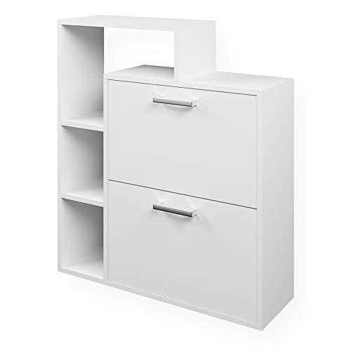 Vicco Schuhkipper Orlando 2 Fächer - Schuhregal Schuhschrank Schrank Kommode Flur Diele Garderobe (Weiß)