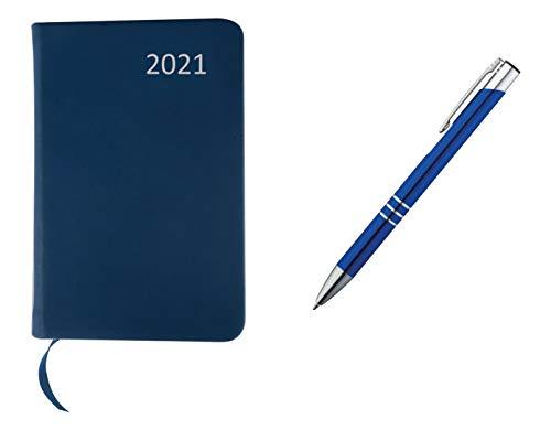 Taschenkalender 2021 / ca A7 / PU Einband / Farbe: blau + Metall Kugelschreiber