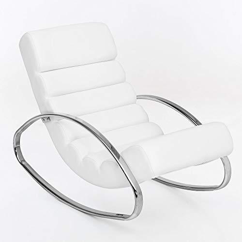 Wohnling rilassante poltrona TV bianco rilassante Sedia design Sedia a dondolo sedia moderna Pulendo