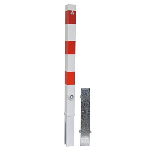 Schake 470FB Absperrpfosten herausnehmbar, weiß beschichtet mit 3 rot reflektierenden Streifen