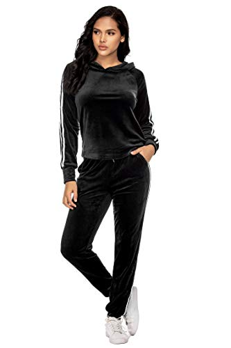 Hotouch Womens Track Suits Velvet Soft Sweatpants and Jacket Sweatsuits Sport Suit Black S