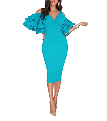 VERWIN Solid Flounced Sleeves Cold Shoulder V Neck Elegant Sexy Party Evening Midi Dress Bodycon Dress Blue S