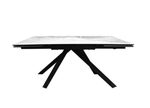 Muebletmoi - Mesa de comedor rectangular extensible 160/240 cm, cerámica blanco mármol y patas metálicas, diseño contemporáneo, color blanco